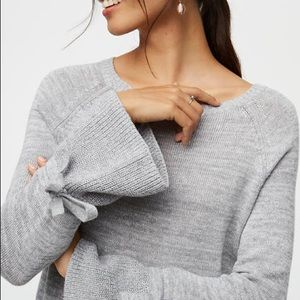 LOFT Gray Sweater With Ruffle Cuff And Bow